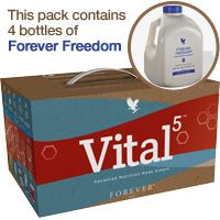 Vital5 Pak with Forever Freedom! Item #:459 Forever Living Products is proud to introduce Forever Vital5 - our solution to healthy nutrition in one simple pack. Vital 5 contains Forever Freedom, Forever Daily, Forever Active Probiotic, Forever Arctic Sea and ARGI+. Together these products help to support the Nutrient Superhighway.