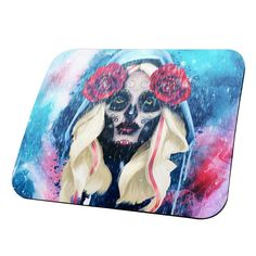 Halloween Day of the Dead Sugar Skull Girl Rain All Over Mouse Pad