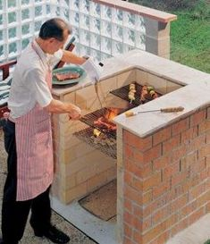Best DIY Backyard Brick Barbecue - Back yard grill Backyard Patio Designs, Ponds Backyard, Backyard Pergola, Pergola Kits, Brick Grill, Backyard Storage, Design Jardin, Backyard Kitchen, Backyard Furniture