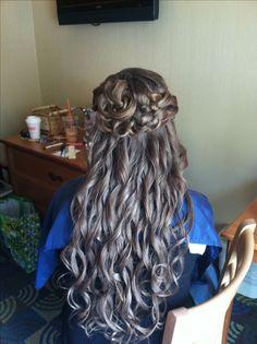 Bride's  hair  By CARiANN PETTiT- Half up Half down updo - Wedding hair -Bridal hair  - super long curly hair - braided knot- gorgeous hair - prom hair- upstyle - homecoming - Romantic