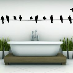 Vinyl Wall Art | Wire with Birds - Vinyl Wall Art Decal