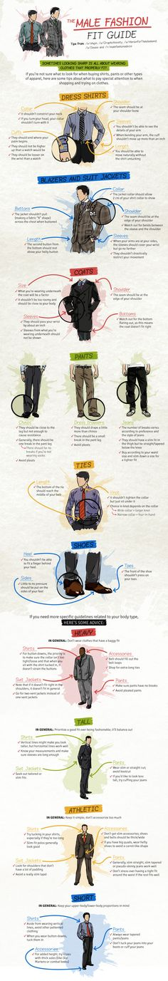 Style 101: Male Fashion Fit Guide Cheat Sheet www.dapperguide.com #style #dapperguide #dapper #mensfashion