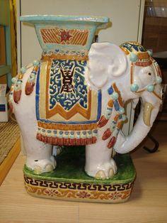Antique Plant Stands Ceramic Elephants Garden Seat