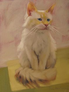 Diane Hoeptner: Uncle Blue white cat painting