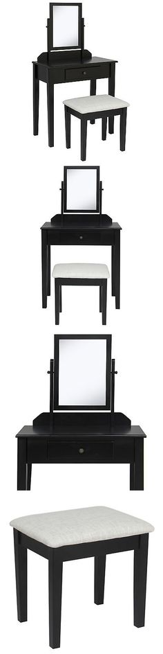 Vanities and Makeup Tables 32878: Bathroom Vanity Table Set W Stool Makeup Hair Dressing Organzer- Black -> BUY IT NOW ONLY: $89.94 on eBay!