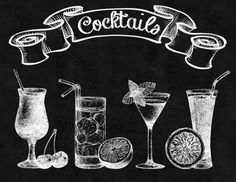 DOWNLOAD-Chalkboard-Bar-Alcohol-Drink-Classic cocktail-Menu-Set instantanée de Cocktails classique-Image transfert imprimable numérique fiche produit - No.475