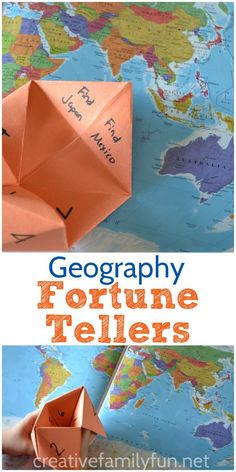 Learn geography with this fun Fortune-Teller Activity from the book 100 Fun and Easy Learning Games for Kids.