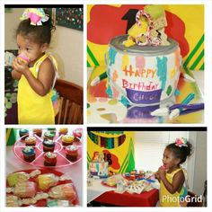 Paint Bucket Cake with ricecrispy paint brushes and Painted Cupcakes Carnell'sCakery