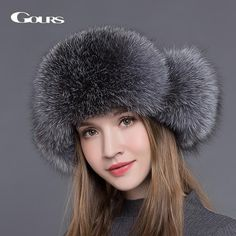 1734181fc85cf Womens Russian Style Natural Fox Fur Winter Bomber Cap