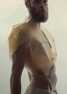 """Sruli Recht Carapace is SR549: Translucent Leather Vest - """"Made from faceted layers of the purest lambs – for if you remove the soul of an animal before its passing, the skin becomes transparent."""""""