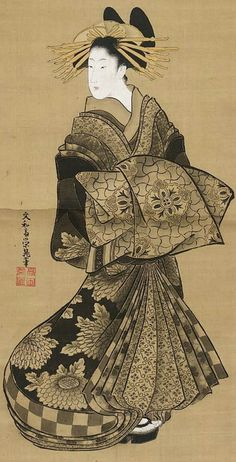 Standing Courtesan. Main detail of a hanging scroll; ink and color on silk, 1789-1804, Bunnasai Eicho.