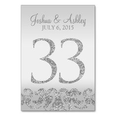 Silver Glitter Look Wedding Table Numbers-33 Card