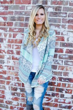 Clothing - Snowed In Snowflake Cardigan in Mint - Forever Fab Boutique Women's Clothing Holiday Fashion Fall Fashion Outfit Ideas #shop #fashion