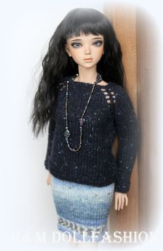 R M Dollfashion Fall Line OOAK Hand Knit Outfit for Iplehouse JID MSD BJD Dolls…