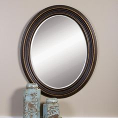 Global Direct 34 in. x 28 in. Rubbed Bronze Wood Oval Framed Mirror-14610 - The Home Depot