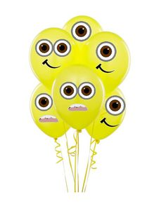 Despicable me Minion Balloon stickers INSTANT DOWNLOAD, minion decorations, despicable me birthday, Despicable me 2,  minion party