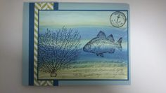 """By the Tide"" stamp set. Love how the background looks like water. Did it using a baby wipe. Yep a baby wipe."