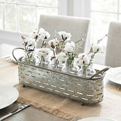 Give your farmhouse home a touch of industrial flair with this Galvanized Vented Vase Runner Set. It's the perfect size for showing off your favorite buds. Easy Home Decor, Home Decor Kitchen, Kitchen Ideas, Cozy Kitchen, Country Farmhouse Decor, Rustic Decor, Farmhouse Style, Antique Decor, Farmhouse Ideas