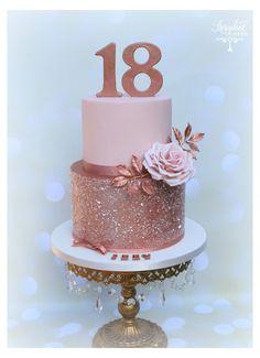Celebration Cakes, Birthday Celebration, Birthday Parties, Birthday Cake 50, Homemade Birthday, Glitter Birthday Cake, 18th Birthday Cake For Girls, Birthday Cake With Roses, 18th Birthday Decor