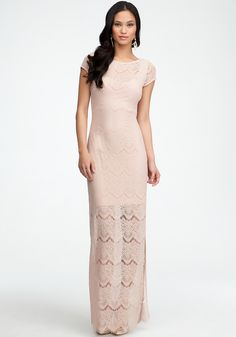 Open Back Lace Maxi Dress #bebe #vday   The long dresses that are shear with a mini underlining.. Say daring, beautiful and let's you look sexy appropriately for any occasion. Love this look I have a couple of dresses like this. It's my winter look in miami
