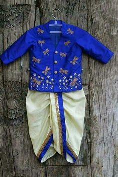 New children dress indian Ideas - Baby Dresses Baby Boy Dress, Baby Boy Outfits, Kids Outfits, Baby Dresses, Kids Indian Wear, Indian Baby, Indian Girls, Kids Kurta, Boys Kurta Design