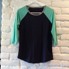 Gap Baseball Tee Very good gently used condition! Beautiful navy and teal colors with grey neckline! Very cute GAP Tops Tees - Short Sleeve