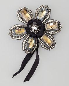 Lanvin Crystal Flower Brooch