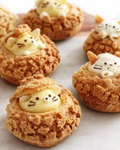 Kitty and mouse cookie choux!🐹🐱✨Tag someone who loves cream puffs! Cute Baking, Kawaii Dessert, Choux Pastry, Fancy Desserts, Cafe Food, Aesthetic Food, Creative Food, Sweet Recipes, Sweet Treats