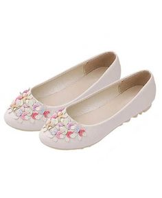 Slip-on Crescent Flower Soft PU Leather Flats