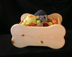 Dog Toy Box Large Bone Shaped Wooden Toy Box Dog by WoodinYou