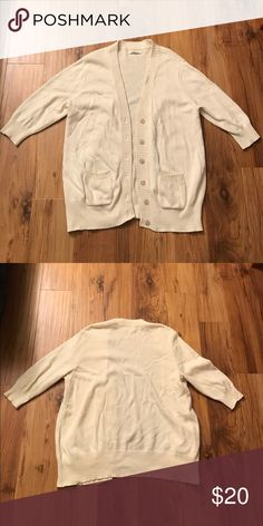 "⭐️Old Navy Cardigan⭐️ Quarter length sleeve, cream cardigan. Two pockets in front that you can actually use! (yay!) with metal buttons. Mostly cotton and because there is wool it has more of a ""scratchy"" look. Doesn't feel as much though, it's just not ""smooth"". I'll put the materials further below.👇🏼Worn only a few times. (55% cotton, 15% acrylic, 10% nylon, 10% rayon, 10% wool. if that helps any!💕) Old Navy Sweaters Cardigans"