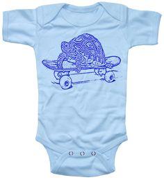 $16.00  Baby Boy Onesie Skateboarding Turtle Bodysuit 6 month