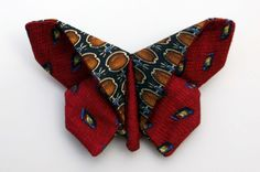 Red Butterfly Pin Recycled Silk