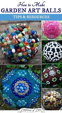 How to Make Decorative Garden Art Balls Decorative garden balls (also called 'garden spheres' or 'glass garden globes') are an inexpensive alternative to the classic gazing ball. Garden Spheres, Garden Balls, Glass Garden Art, Glass Art, Diy Garden Projects, Garden Crafts, Diy Crafts, Recycled Garden Art, Bowling Ball Art