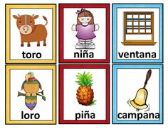 Spanish Rhyming Words. Tarjetas de palabras que riman from Mrs. G. Dual Language on TeachersNotebook.com (17 pages)