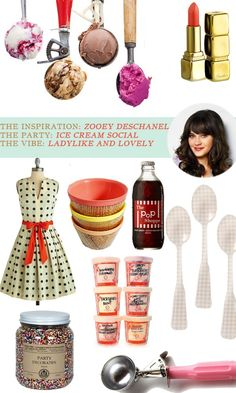 zooey deschanel party inspiration 50's retro ladylike colorful spring ice cream social idea ideas