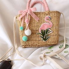 5ec0a48acf Flamingo Straw Beach Bag Summer Tote Square Handbags  vacation  handbags   handbag  nyc  miami  california  newyork  bahamas  athens  swimwear   montreal ...