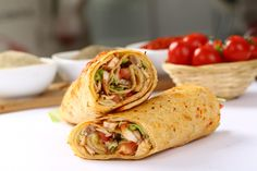 """Learn how to make and prepare the recipe for """"gyro burritos"""", made with traditional Greek ingredients. Chicken Wrap Recipes, Chicken Wraps, Profile By Sanford, Bbq Turkey, Oven Chicken, Stuffed Banana Peppers, Healthy Sandwiches, Avocado, Easy Meals"""