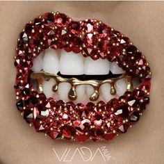 Red Rhinestone Lips With Gold Grill Gold Grill, Silver Grillz, Bottom Grillz, Lip Artwork, Dripping Lips, Drip Art, Smashbox Cosmetics, Benefit Cosmetics, Lipstick Art