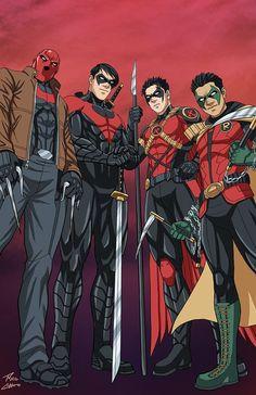 The son's of Batman: Red Hood (Jason Todd), Night Wing (Dick Grayson), Red Robin (Tim Drake), & Robin (Damian Wayne) Marvel Dc Comics, Heros Comics, Comics Anime, Comic Manga, Dc Comics Superheroes, Dc Comics Characters, Dc Comics Art, Dc Heroes, Comic Art