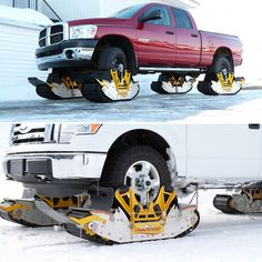 Now those are snow tires. Track N Go Converts Your Truck Into a Tread-Equipped, Snow-Going Beast in Under 15 Min