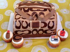 Coach purse cake and cupcakes