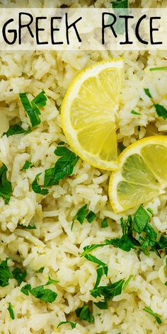 This is the BEST Greek rice recipe! It turns out so fluffy and flavorful. Check out all the tips for perfectly cooked rice every time, too! #rice #greek #lemon #recipe Healthy Side Dishes, Side Dishes Easy, Vegetable Side Dishes, Side Dish Recipes, Vegetable Recipes, Healthy Dinner Recipes, Vegetarian Recipes, Cooking Recipes, Simple Rice Recipes