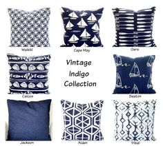 Indigo Navy White Pillow Covers Decorative by PillowCushionCovers