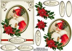 Vintage Christmas framed girl 5 languages on Craftsuprint designed by Carol Smith - a decoupage sheet for Christmas which has a vintage portrait of a young lady framed and trimmed with holly and poinsettia, co-ordinating tag say merry Christmas provided in five languages, also a blank tag for the greeting of your choice.thank you for looking please take a peek at my other items - Now available for download!