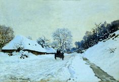 Claude Monet Cart on the Snow Covered Road with Saint-Simeon Farm 1865 in high definition on Farm Paintings, Your Paintings, Claude Monet, Love Painting, Painting Frames, Local Painters, Gustave Courbet, Dark Tree, Most Famous Paintings