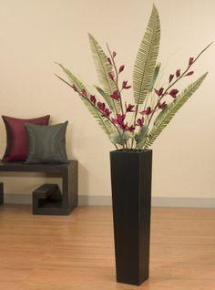 Sword Lilies and Palms in Tall Black Floor Vase (Burgundy) Green Floral Crafts http://www.amazon.com/dp/B00894YHU8/ref=cm_sw_r_pi_dp_vMl4tb171Z4RMZR3