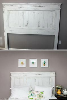 DIY. Build this Farmhouse Style Headboard for around $100! It will be the center of your bedroom makeover #diyremodelingtip