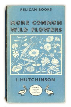more common wild flowers, pelican book, typography, lettering, vintage, retro, cover, design, print, colour, nature, illustration, type