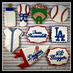"""LA Dodgers Baseball Cookies for a baby boy baby shower treat with the """"lil' slugger"""" theme! So cute!"""
